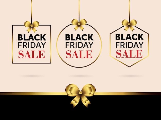 Banner de venta de viernes negro con lazo de cinta dorada