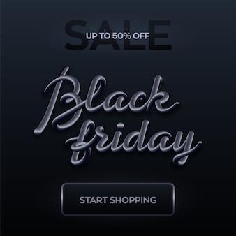 Banner de venta de viernes negro. letras 3d realistas.