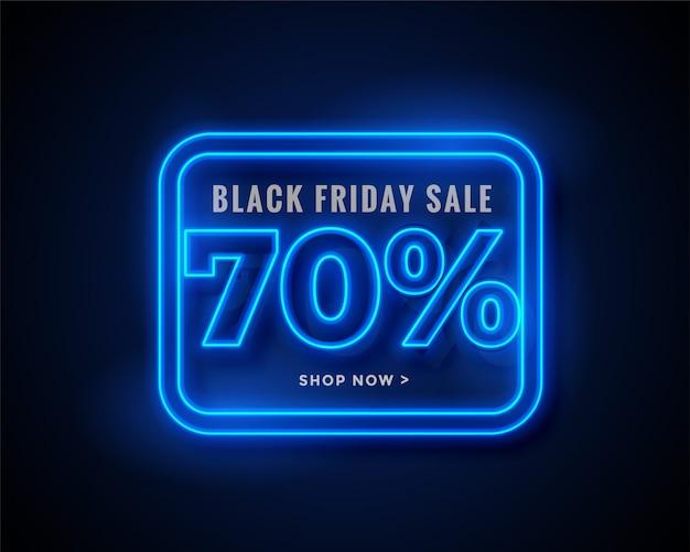 Banner de venta de viernes negro en luces de neón azules brillantes
