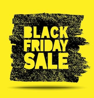 Banner de venta de viernes negro mancha de grunge amarilla dibujada a mano sobre fondo negro anuncio de viernes negro
