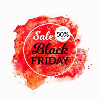 Banner de venta de viernes negro de manchas de acuarela