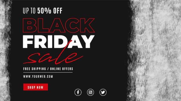 Banner de venta de viernes negro con manchas