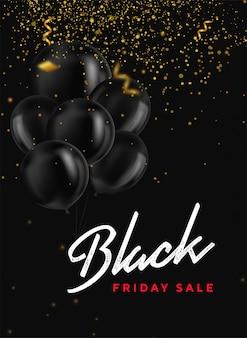 Banner de venta de viernes negro con manojo de globos brillantes, confeti y brillo dorado en la oscuridad. moderno universal para carteles, pancartas, folletos, tarjetas. banner web. cupón.