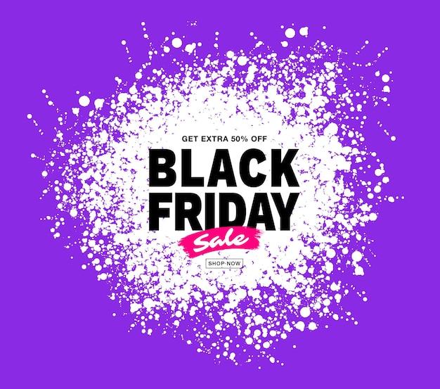 Banner de venta de viernes negro marco de manchas de círculo blanco splash de color púrpura para ventas y descuentos