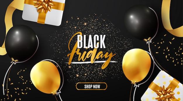 Banner de venta de viernes negro moderno con elementos realistas