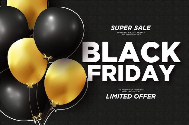 Banner de venta de viernes negro moderno con globos realistas
