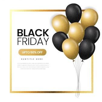 Banner de venta de viernes negro negro y dorado