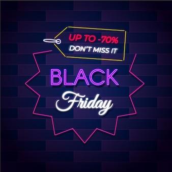 Banner de venta de viernes negro de neón