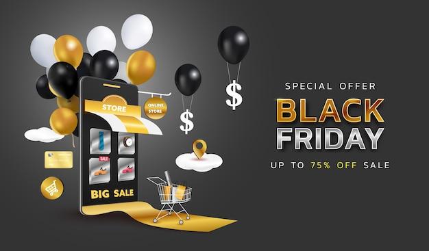 Banner de venta de viernes negro o promoción sobre fondo oscuro. tienda de compras online con móvil, tarjetas de crédito y elementos de tienda.