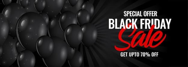Banner de venta de viernes negro oscuro con globos