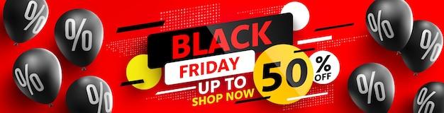 Banner de venta de viernes negro por porcentaje de globos negros o cartel de descuento para venta minorista, compras o promoción de viernes negro diseño de banner de venta para redes sociales y sitio web., oferta especial de gran venta.