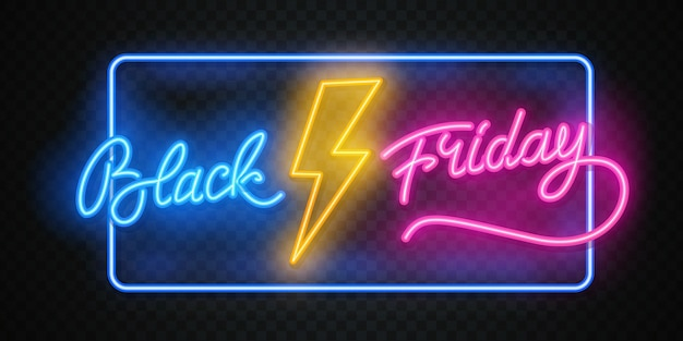 Banner de venta de viernes negro. rayos de neón brillantes sobre fondo negro de ladrillo. ilustración publicitaria.