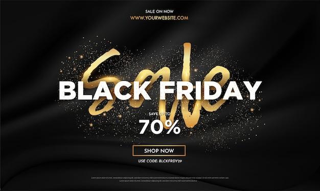 Banner de venta de viernes negro realista