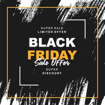 Banner de venta de viernes negro con salpicaduras negras a