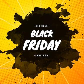 Banner de venta de viernes negro con salpicaduras de pintura y fondo de semitonos