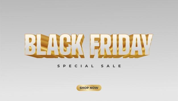 Banner de venta de viernes negro con texto 3d blanco y dorado sobre fondo blanco