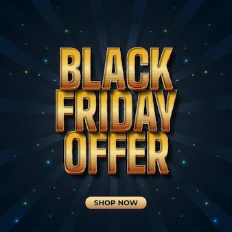 Banner de venta de viernes negro con texto amarillo 3d