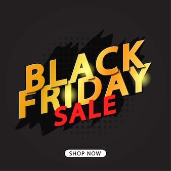 Banner de venta de viernes negro texto dorado sobre fondo negro
