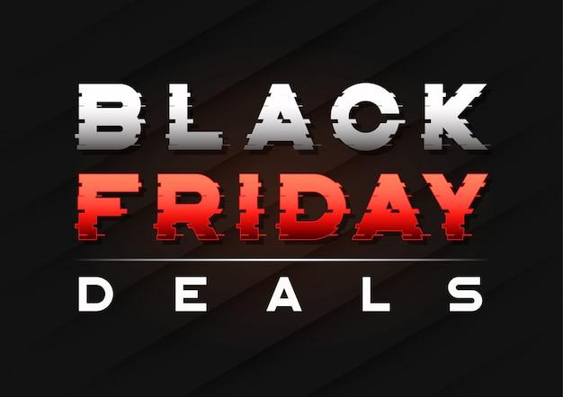 Banner de venta de viernes negro con un texto de trineo glitch.