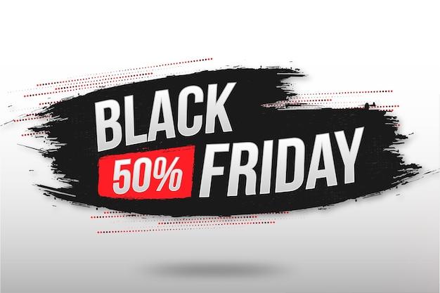 Banner de venta de viernes negro con textura de pincel abstracto