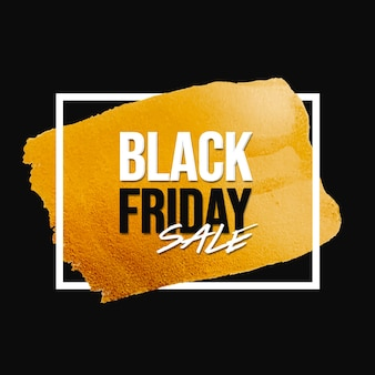 Banner de venta de viernes negro con trazo de pincel dorado y marco blanco