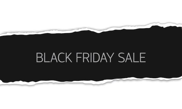 Banner de venta de viernes negro con trozo de hoja rasgada de papel realista vector negro aislado sobre fondo blanco