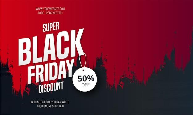 Banner de venta de viernes súper negro con trazo de pincel rojo