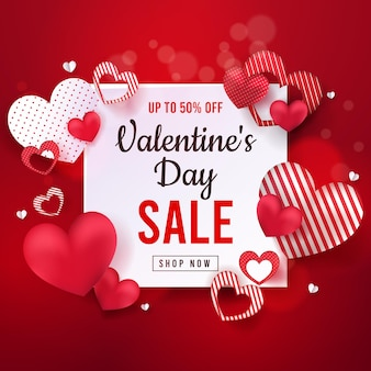 Banner de venta web de san valentín