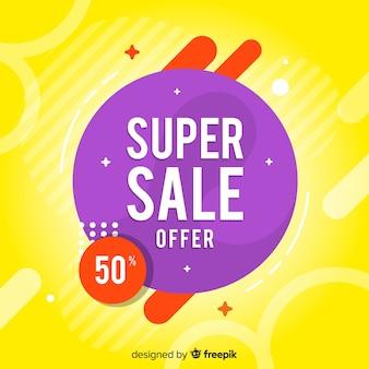 Banner de ventas abstractas con descuento del cincuenta por ciento