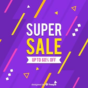 Banner de ventas abstractas con descuento de hasta el sesenta por ciento