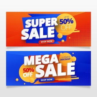 Banner de ventas abstracto degradado
