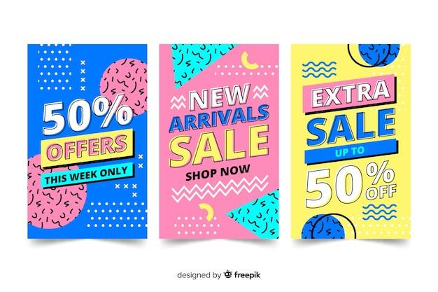 Banner de ventas colección estilo memphis
