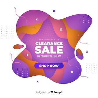 Banner de ventas colorido abstracto con 50% de descuento