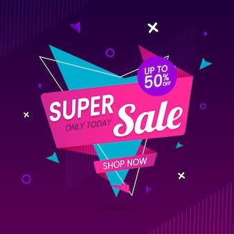Banner de ventas en concepto de estilo origami vector gratuito