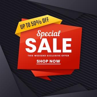 Banner de ventas en concepto de estilo origami