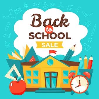 Banner de ventas cuadrado de regreso a la escuela dibujado a mano