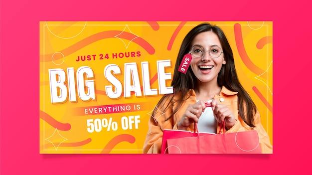 Banner de ventas degradado con foto.