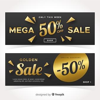 Banner de ventas con detalles dorados.