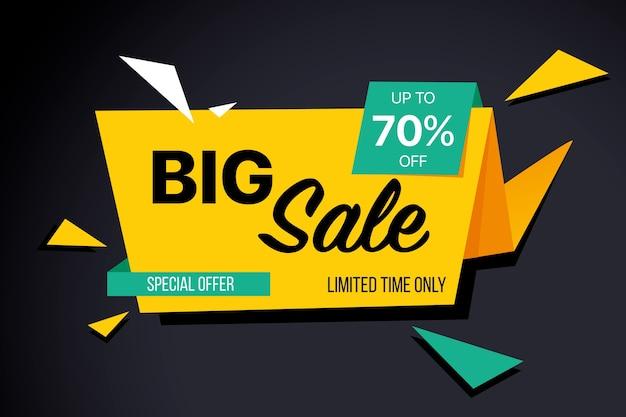 Banner de ventas en diseño estilo origami