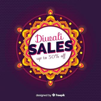 Banner de ventas de diwali de diseño plano