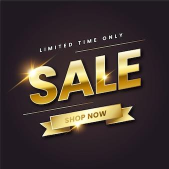 Banner de ventas dorado realista