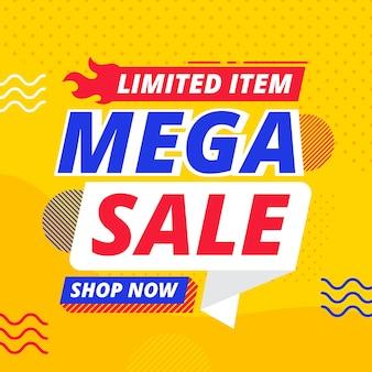 Banner de ventas con elementos de memphis