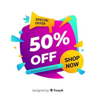 Banner de ventas en estilo colorido abstracto