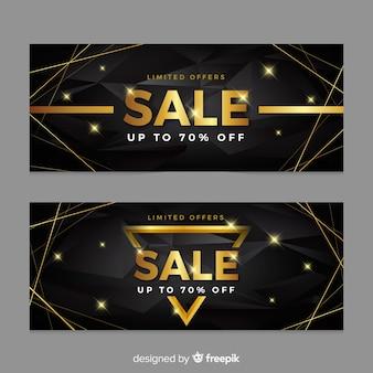 Banner de ventas en estilo dorado
