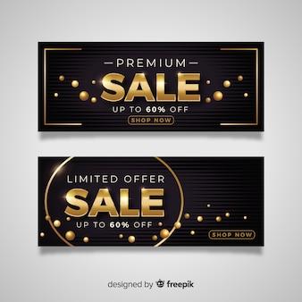 Banner de ventas en estilo de lujo dorado.