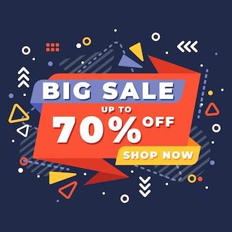 Banner de ventas en estilo memphis