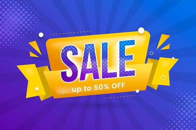 Banner de ventas en estilo origami y cinta amarilla