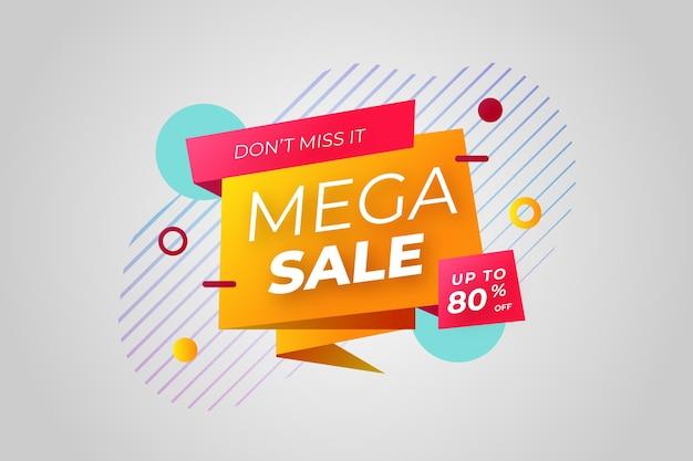 Banner de ventas en estilo origami y efecto memphis