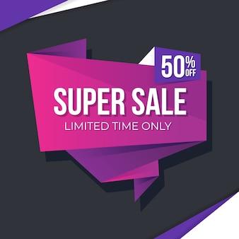 Banner de ventas en estilo origami con rosa