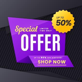 Banner de ventas en estilo origami
